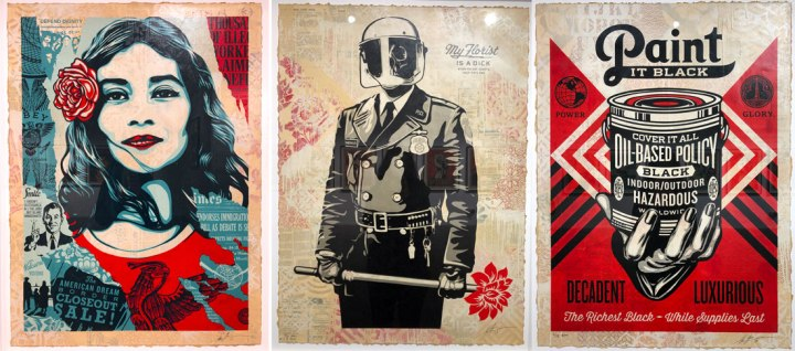 three collages by Shepard Fairey for his London exhibition 2019