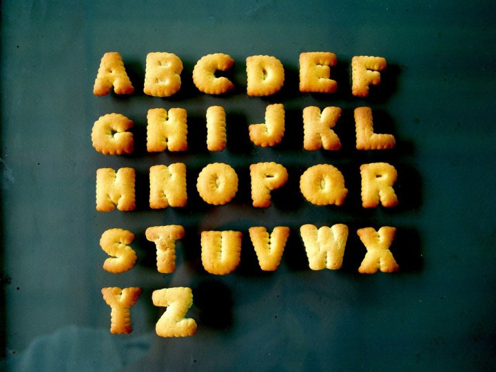 alphabet made out of biscuit letters