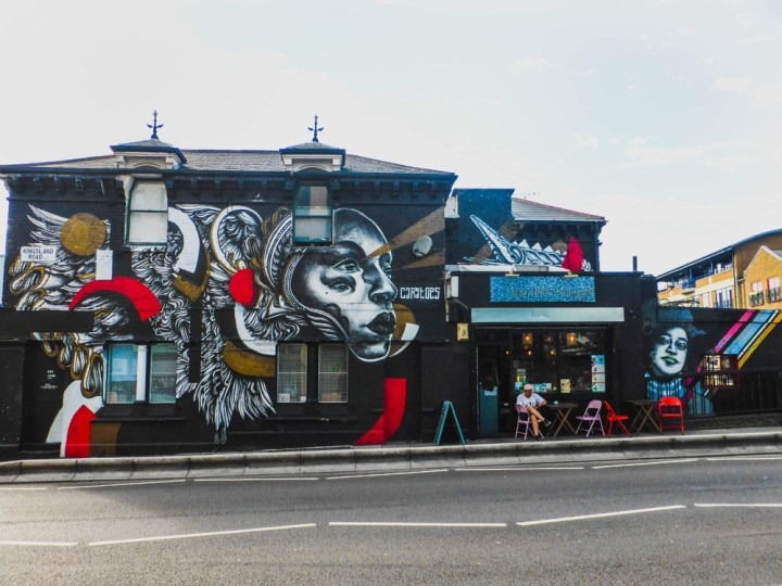 Murals by Caratoes and Zabou on Kingsland Road in Dalston