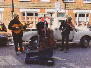On Sundays there is live music at the Columbia Road Flower Market, London