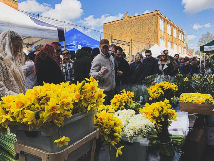 The best time to visit Columbia Road Flower Market in London is earlier in the day