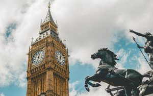 Statue of Queen Boudica in her war chariot facing Big Ben and the Houses of Parliament