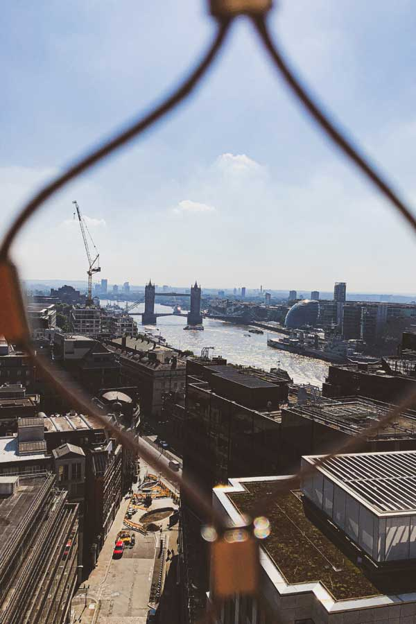 View of Tower Bridge, London, from Monument