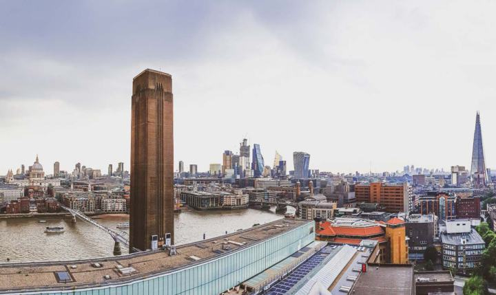 London skyline with from left to right: St Paul's Cathedral, Millennium Bridge, Tate Modern, Walkie Talkie, The Shard