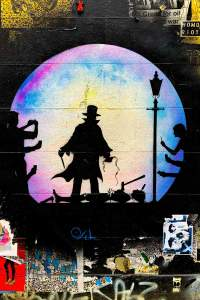 Street art mural of Jack the Ripper by Otto Schade in Shoreditch, London