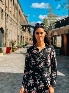 Zarina posing at Coal Drops Yard Kings Cross