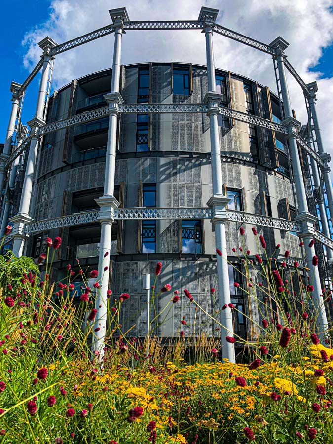Victorian gasholder that has been made into apartments in Kings Cross, London