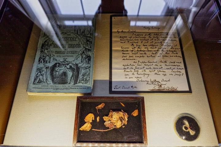 Items related to Charles Dickens's death on display in his house in London