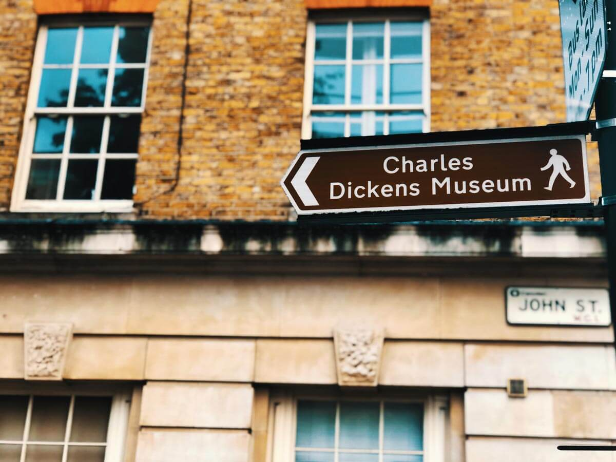 street sign for the Charles Dickens Museum in London