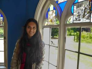 portrait of Zarina during her visit to Strawberry Hill House in London