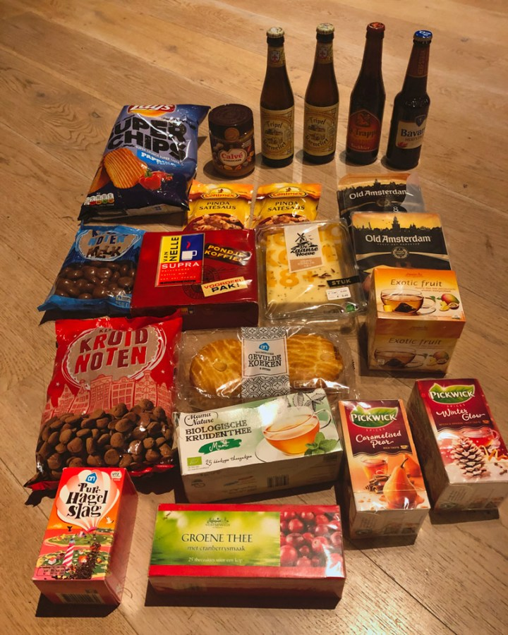Contents of the care package received from my friend filled with my favourite Dutch food