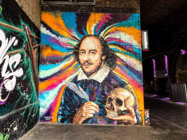 Street art portrait of Shakespeare in London by JimmyC