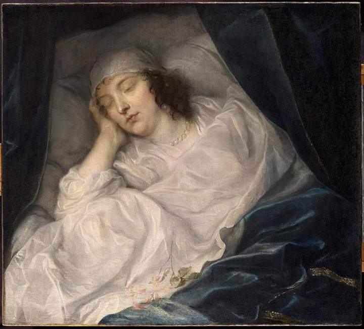 Painting 'Venetia, Lady Digby, on her Deathbed' by Sir Anthony van Dyck