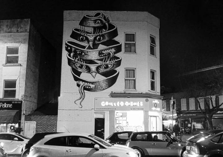Phegm street art mural in Dulwich, London, based on 'Bond of Union' by Escher