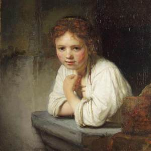 Painting 'A Girl at a Window' by Rembrandt van Rijn
