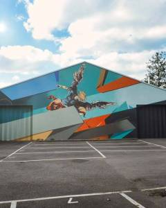 Remi Rough street art in Dulwich, London, based on 'The Fall of the Rebel Angels' by Sebastiono Ricci
