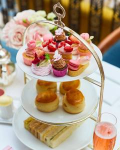 close-up of London afternoon tea at The Lanesborough Hotel with beautiful cakes