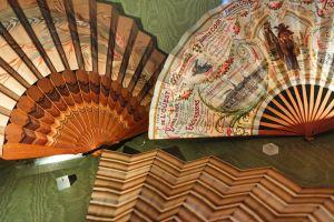 close-up of vintage fans in the Fan Museum in Greenwich, London