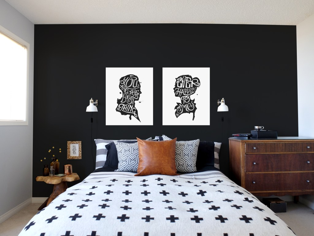 Dutchie Love Master Bedroom with silhouette portrait art