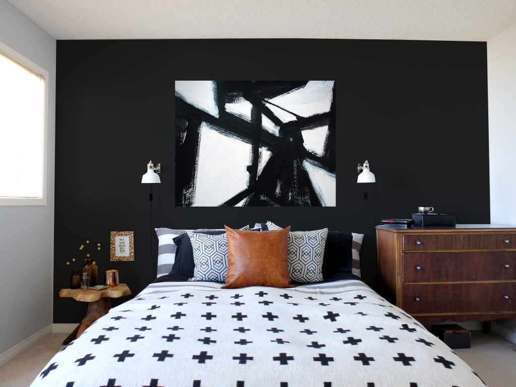 Dutchie Love Master bedroom with DIY black & white brushstroke artwork