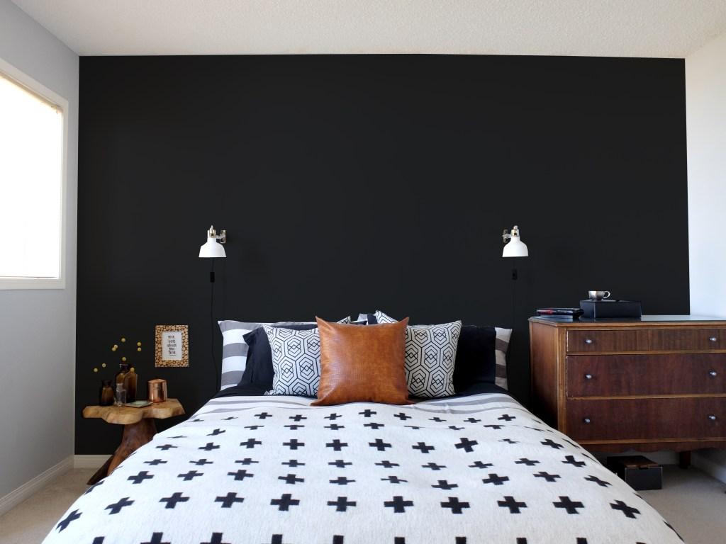 Dutchie Love Master Bedroom black walls mockup