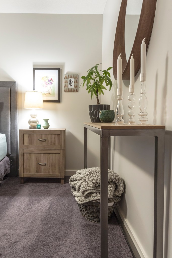 Bedroom makeover custom console table