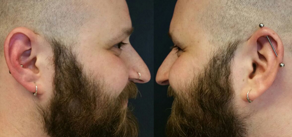 man-piercing-stoer-mannelijk-neuspiercing-industrial