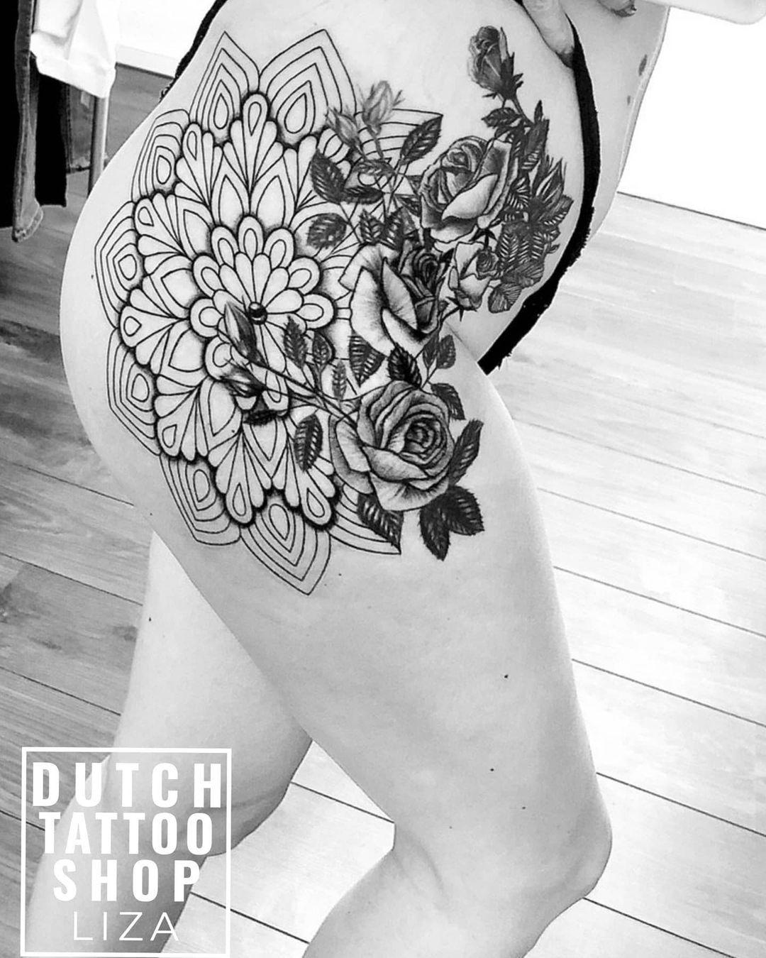 mandala-dijbeen-vrouwelijk-heup-tattoo-rozen