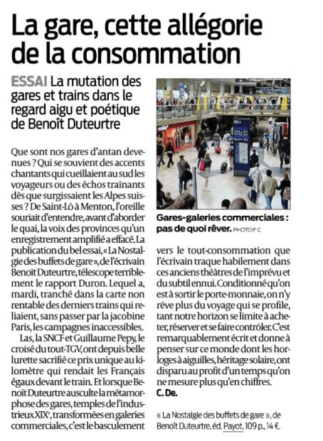 Benoît Duteurtre, La nostalgie des buffets de gare, C. De., Sud Ouest, 31 mai 2015
