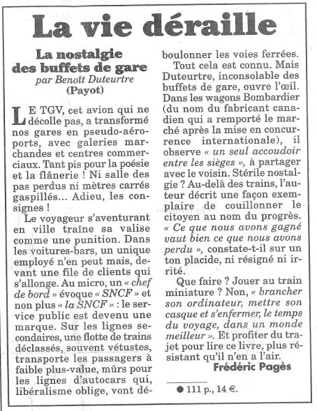 Benoît Duteurtre, La nostalgie des buffets de gare, Frédérique Pagès, Le Canard enchaîné, 3 juin 2015
