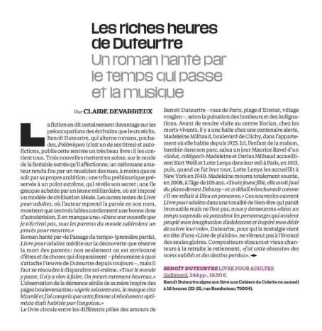 Benoît Duteurtre, Livre pour adultes, Claire Devarrieux , Libération, 15 octobre 2016
