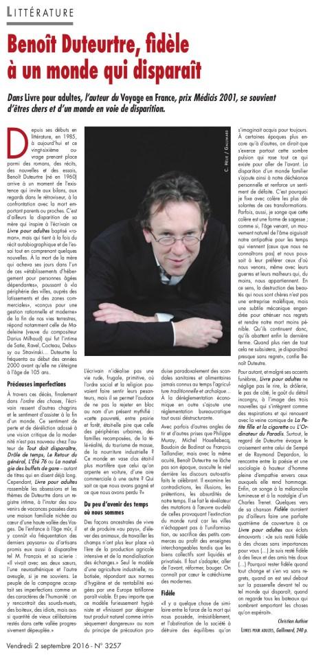 Benoît Duteurtre, Livre pour adulte, Christian Authier, L'Opinion Indépendante, 2 septembre 2016