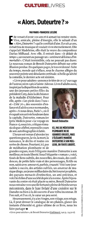Benoît Duteurtre, Livre pour adultes, Marie-Françoise Leclère , Le point, 6 octobre 2016