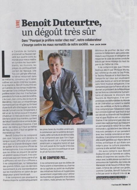 Benoît Duteurtre, Pourquoi je préfère rester chez moi, Jack Dion, Marianne, 17 mars 2017