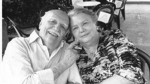 Gabriel Bacquier et son épouse Sylvie Oussenko-Bacquier, 24 décembre 2016