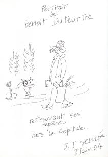 Benoît Duteurtre dans les vosges dessiné par Sempé