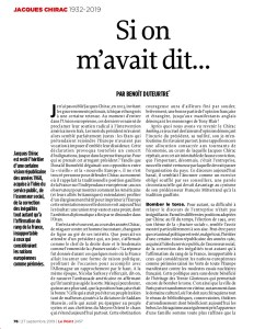 Chirac par Benoît Duteurtre - Le Point n°2457 - 27 septembre 2019 - 1/2