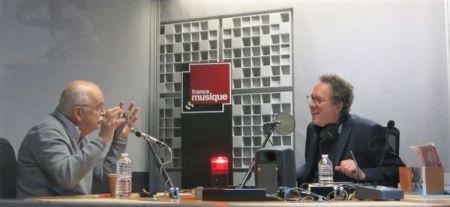 France Musique, studio 361... L'écrivain Erik Orsenna & le producteur Benoît Duteurtre (g. à d.) , © Radio France / Annick Haumier / RF