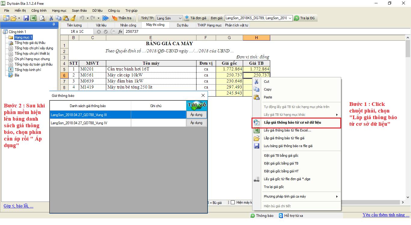 Tính giá máy thi công trên phần mềm dự toán Eta