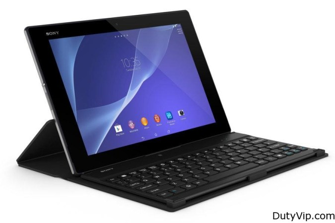Tablet Sony Xperia 2 con teclado portatil y bateria extra