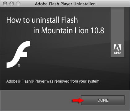 Uninstall Adobe Flash Player on Mountain Lion 10.8