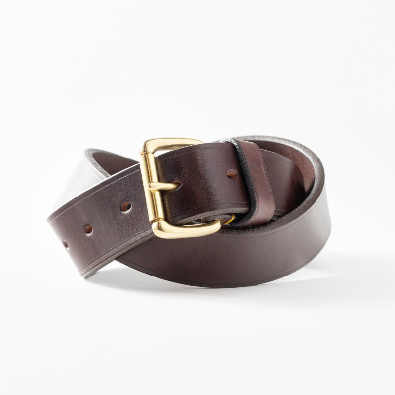 Full grain leather made from dark brown bridle leather