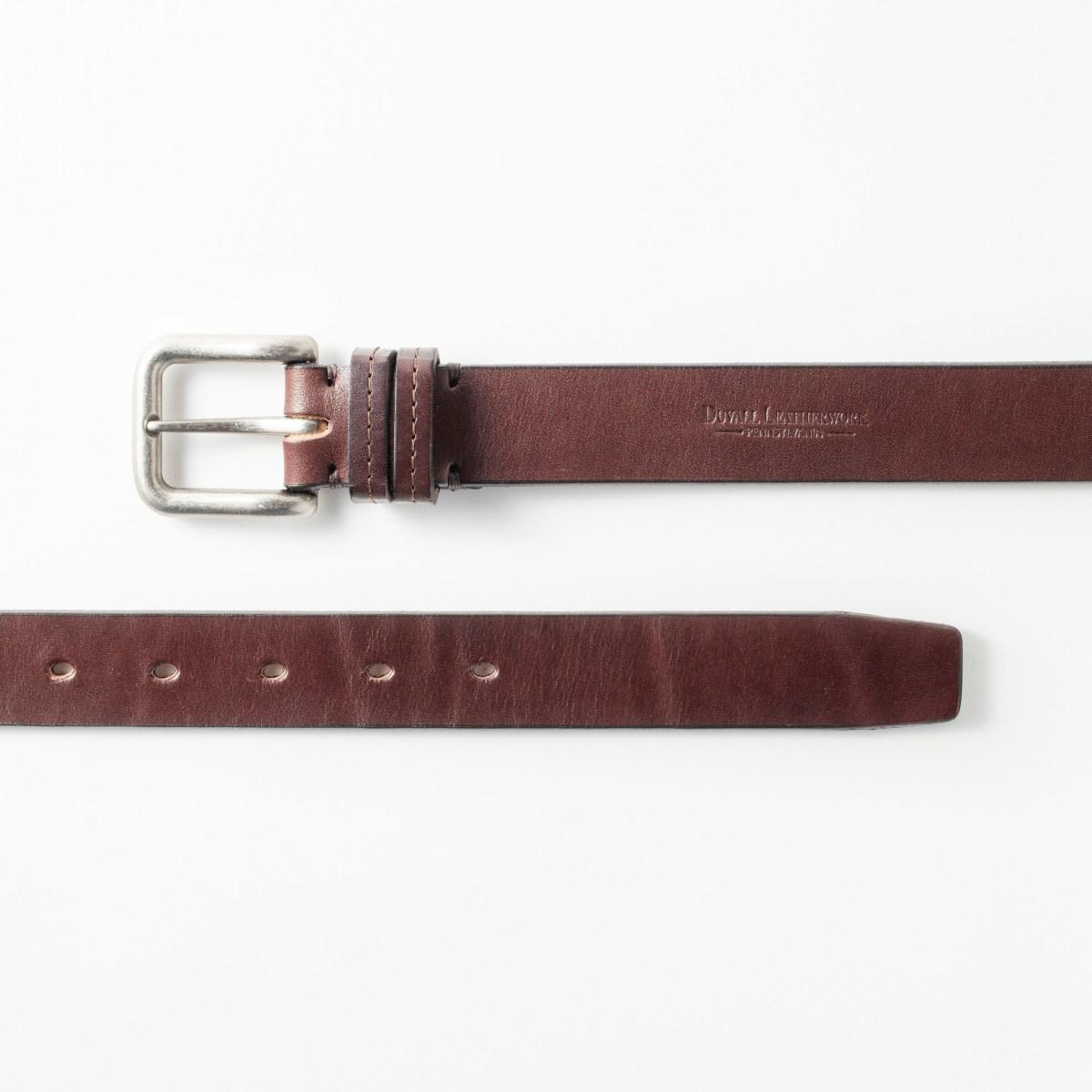A smoky, dark leather belt.