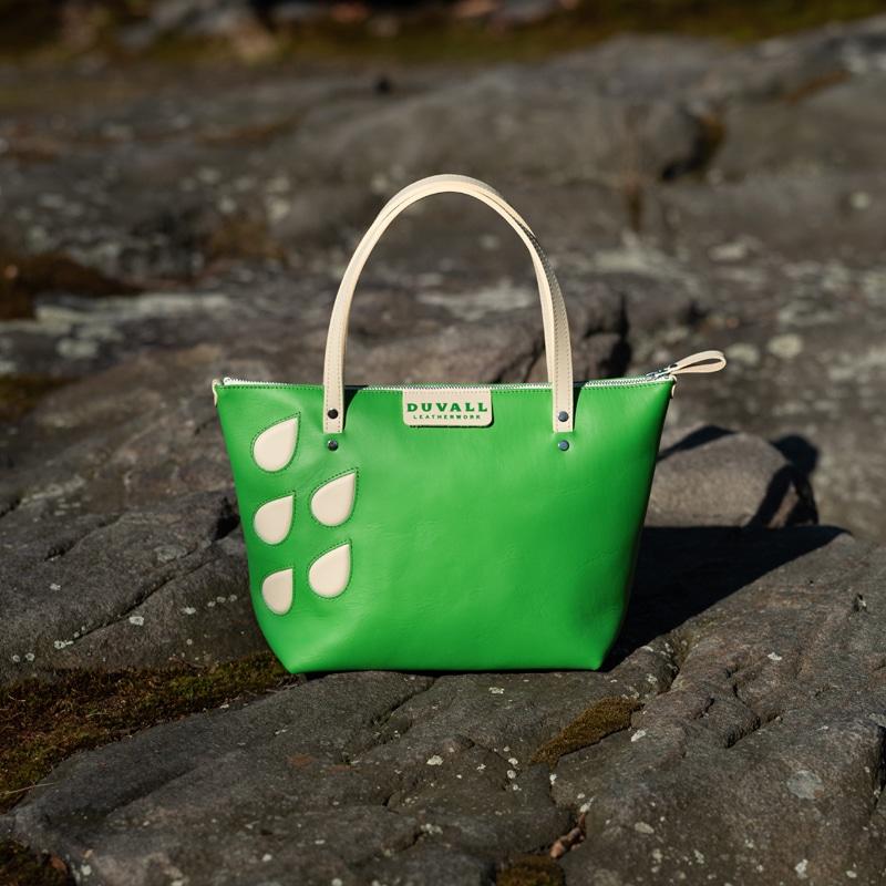 Beau Cuir Handbag in Emerald Green & Beige