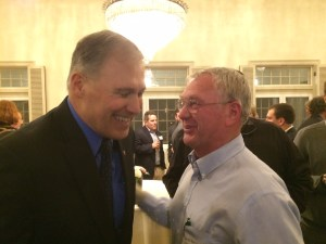 Washington Governor Jay Inslee and DU volunteer Bernard Brown share a laugh.