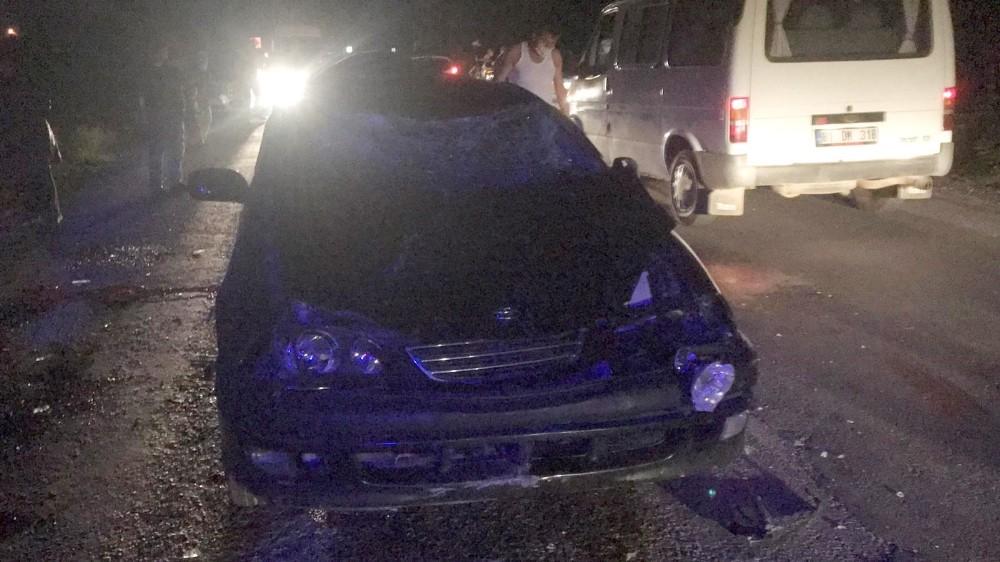 Otomobil karşıdan karşıya geçen büyükbaş hayvan sürüsüne çarptı: 2 yaralı