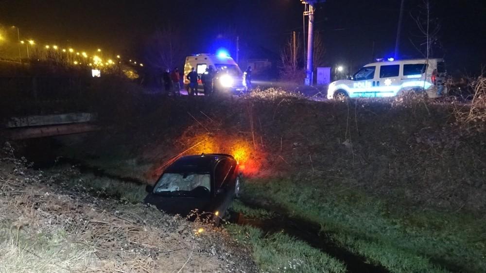 Polis ekipleri devriye atarken kanala uçan arabayı fark etti