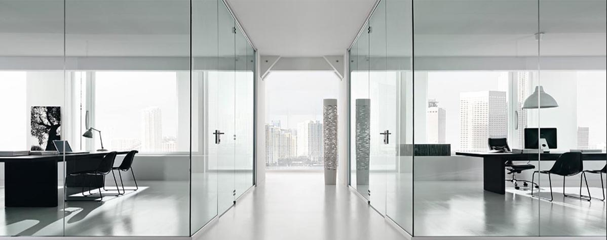 Glass partitions, office dividers, flooring, office furniture