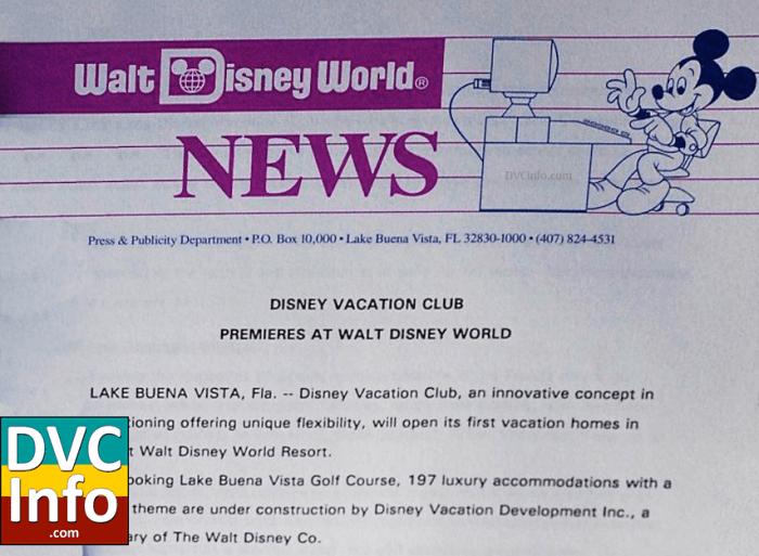 1991 Disney Vacation Club press release