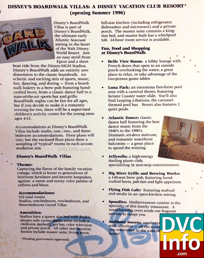 Early DVC promotional material for Boardwalk